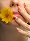 Weiblicher Gesichtsabschluß und Nagelkunst Stockfoto