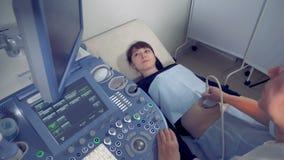 Weiblicher Gynäkologe führt ein Ultraschallverfahren auf einer schwangeren Frau durch Medizinischer Ultraschallscan stock video footage