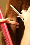 Weiblicher Haarfarbton an einem Salon stockbild