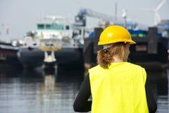 Weiblicher Hafenarbeiter Stockbilder