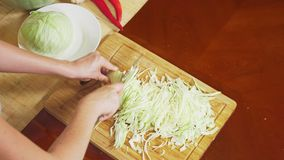 Weiblicher Handschnittkohl mit einem Messer Mischung des Gemüses für das Kochen des Gemüseeintopfgerichts Ansicht von oben 4k, stock video
