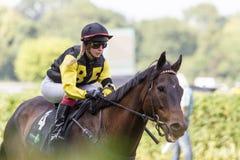 Weiblicher Jockey an einem Pferderennen Stockbild