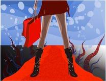 Weiblicher Käufer auf rotem Teppich Stockbilder