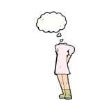 weiblicher Körper der Karikatur (addieren Sie Fotos oder mischen Sie und bringen Sie Karikaturen) zusammen, mit Stockfoto