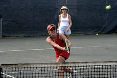 Weiblicher kaukasischer Tennisspieler Stockbild