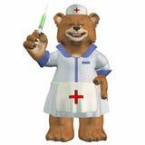 Weiblicher Krankenschwester-Bär mit einer Spritze Stockfotografie