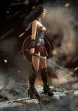 Weiblicher Krieger, der an nach einem Kampf mit Klinge und Schild in der Hand schaut lizenzfreie abbildung