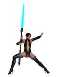 Weiblicher Krieger des Scifi mit Plasmalanze Stockfotos