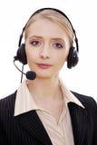 Weiblicher Kundenkontaktcenterangestellter mit Kopfhörer Lizenzfreie Stockbilder