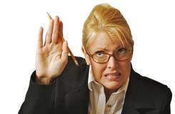 Weiblicher Kursteilnehmer, der Hand anhebt Lizenzfreie Stockbilder