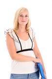 Weiblicher Kursteilnehmer oder Büroangestellter mit Datei Lizenzfreie Stockfotografie