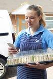 Weiblicher Lebensmittellieferant, der Tray Of Sandwiches To House überprüft T liefert Stockbild