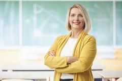 Weiblicher Lehrer im Klassenzimmer Stockbilder