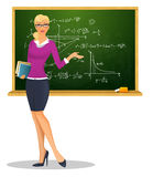Weiblicher Lehrer mit Tafel Stockfotos