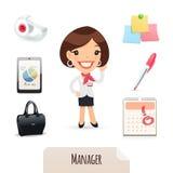 Weiblicher Manager Icons Set Lizenzfreie Stockfotografie