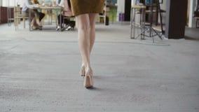 Weiblicher Manager kommt zum Geschäftsteam Mischrassegruppe von personenen-Sitzung im modernen Büro Kamera schiebt von den Beinen Stockbild