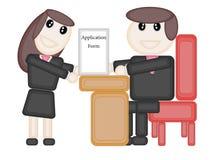 Weiblicher Offizier Send Applications-Formentwurf lizenzfreie abbildung