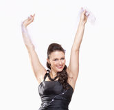 Weiblicher Opern-Sänger Performing in ihrem Stadiums-Kleid Stockbild