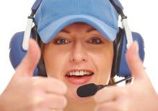 Weiblicher Pilot mit Kopfhörer Lizenzfreie Stockbilder