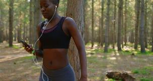 Weiblicher Rüttler, der Handy beim Rütteln von 4k verwendet stock video footage