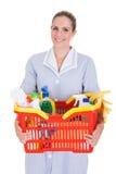 Weiblicher Reiniger, der Chemikalien-Versorgungen im Korb hält Lizenzfreie Stockbilder