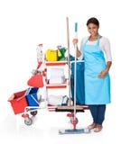 Weiblicher Reiniger mit Reinigungs-Ausrüstung stockbild