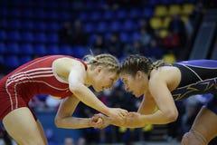 Weiblicher Ringkampf Stockbild