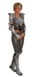 Weiblicher Ritter in der aufwändigen Rüstung lokalisiert Lizenzfreie Stockbilder