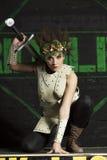 Weiblicher Ritter in der Rüstung Stockbilder