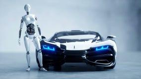 Weiblicher Roboter des futuristischen Humanoid und sci FI-Auto Realistische Bewegung und Reflexionen Konzept von Zukunft Gesamtlä stock video footage