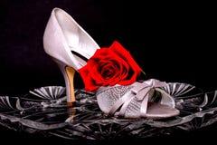 Weiblicher Schuh und stieg Stockfoto
