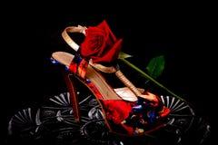 Weiblicher Schuh und stieg Lizenzfreie Stockbilder