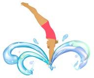 Weiblicher Schwimmer, der in das sploshing Wasser springt Lizenzfreie Stockbilder
