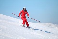 Weiblicher Skifahrer Stockfotos