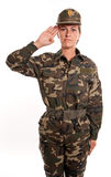 Weiblicher Soldatgruß Stockfoto