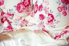 Weiblicher Spitzen- Unterwäschehintergrund Stockfotografie