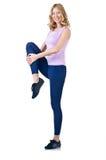 Weiblicher Sportler, der Übungen tut Stockbilder