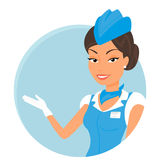 Weiblicher Stewardess, der blauen Anzug trägt Runde Ikone Lizenzfreie Stockfotografie