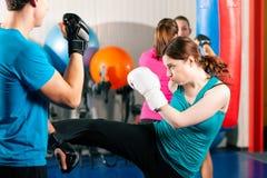 Weiblicher Stoßboxer mit Kursleiter beim sparring Lizenzfreie Stockbilder