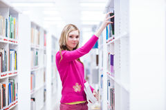 Weiblicher Student in einer Bibliothek Lizenzfreie Stockfotografie