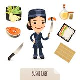 Weiblicher Sushi-Chef Icons Set Lizenzfreie Stockfotos