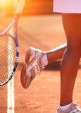 Weiblicher Tennis-Spieler Stockfotografie