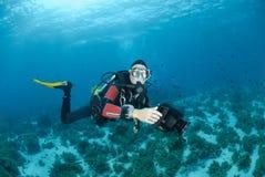 Weiblicher Unterwasseratemgerättaucher und Unterwasservideoausrüstung. Stockfoto