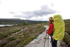 Weiblicher Wanderer auf dem SüdKungsleden Lizenzfreies Stockfoto
