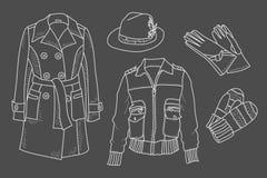 Weiblicher Wandschrank Vereinfachte Darstellung des Kleidungsentwurfs Skizze von Kleidung Stockfotografie
