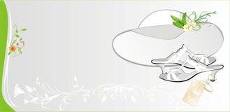 Weiblicher weißer Hut und Schuhe. Art und Weisekarte Stockfoto