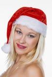 Weiblicher Weihnachtsmann Stockbild