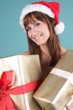 Weiblicher Weihnachtsmann Stockfotografie