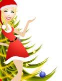 Weiblicher Weihnachtsvorführer Stockfoto