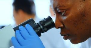 Weiblicher Wissenschaftler, der Mikroskop im Labor 4k verwendet stock footage